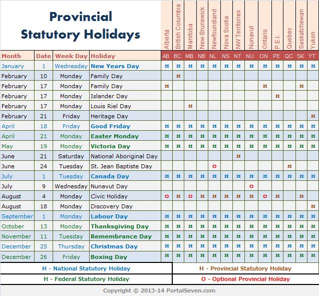 2014 Calendar Canada | 2014 Canada Statutory Holidays